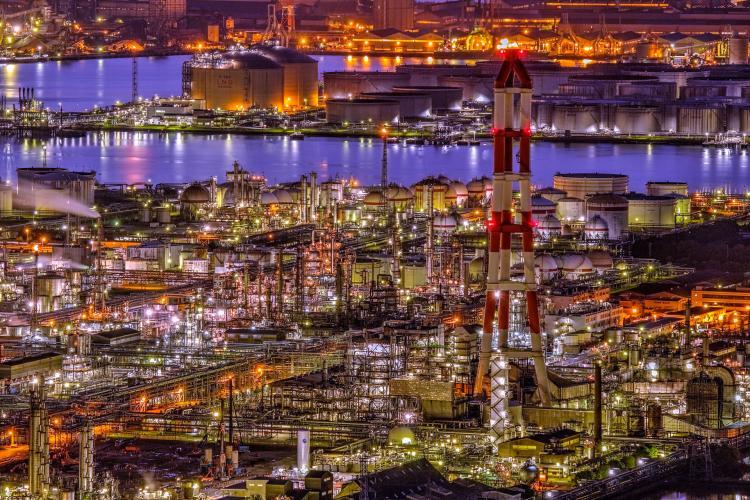 水島工場群夜景